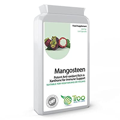 Pure Mangosteen 500mg 120 capsules - Superfood Antioxidant Health Supplement to Support Immune System and Promote Healthy Hair, Nails & Skin